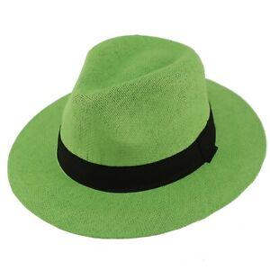 "Unisex Summer Light Panama Derby Fedora Wide 2-3/8"" Brim Hat Adjustable"