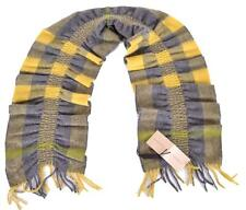New Burberry 100% Cashmere Lemon Quartz Yellow Nova Check Ruched Scarf Muffler