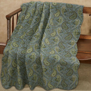 Green Paisley Country Style  Printed Reversible Cotton Quilted Throw