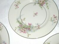 "6 Vintage Theodore Haviland New York Apple Blossom China 10 5/8"" DINNER Plates"
