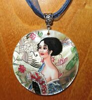 Pendant GUSTAV KLIMT LADY with a FAN Genuine ART hand painted SHELL reproduction