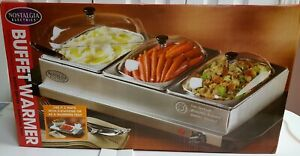 Nostalgia Electrics Buffet Server & Warming Tray Stainless Steel - 3 Station New
