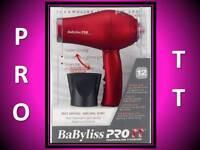 NEW BABYLISS PRO TT RED TITANIUM FOLDING HANDLE TRAVEL HAIR BLOW DRYER BABTT053T