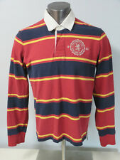 Mens Abercrombie & Fitch Rugby Polo Shirt Size L Cotton Long Sleeve Red Yellow