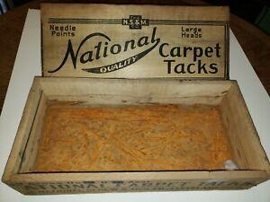 Antique National Carpet Tacks Wooden Box, Bostwick Braun