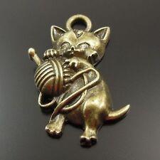 22PCS Antique Style Bronze Alloy Cat Skein Pendant Charm 23*18*4mm