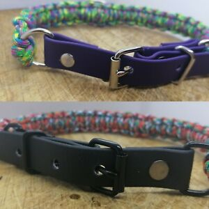 Paracord And Biothane Webbing Collars. Two Colour Choices. Handmade