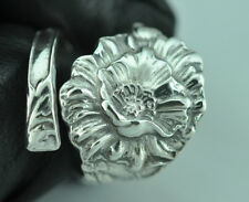 Beautiful 925 Sterling Silver Large Poppy Flower Floral Spoon Ring