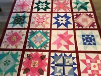 Patchwork Quilt Top, Triangles, Stars, Various Patterns, Vivid Multi Colors