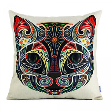 Cat Face Pattern Throw Pillow Case Square Cushion Cover Home Sofa Bed Decor NEW