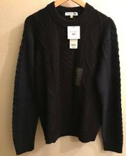J.W. ANDERSON x UNIQLO 'JWA Chunky Fisherman Cable' Men's Wool Sweater M Nvy NWT