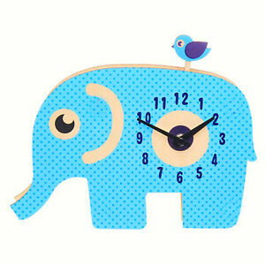 CHILDRENS WOODEN ELEPHANT PENDULUM WALL CLOCK WITH CUTE MOVING BIRD BY KIDCRAFT