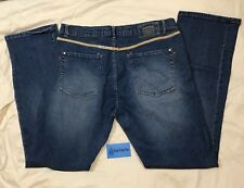Marithe Francois Girbaud Blue Denim Mom Jeans Bootcut 34 Classic Leather Accents