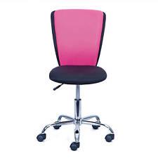 Chaise de bureau enfant noir rose en métal chromé