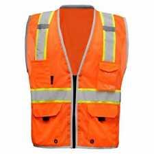 Class 2 Tone High Visibility Construction Safety Pockets Vest Reflective Orange