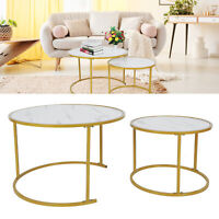 2X High Quality Marble Coffee Table Round w/Shelf Gold Leg Living Room Furniture