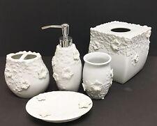 Nuevo 5 Piezas Juego Blanco 3D Floral Cerámica Dispensador Jabón, Servilleta,