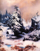 Winter In The Rockies Thomas Moran Fine Art Print on Canvas Giclee Repro Small