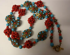 Old Chinese Hand Made Red Corals & Turquoise Unique Necklace