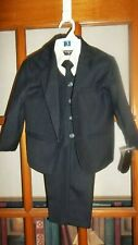 Formal Kids Toddler Boys Navy Pinstripe Suit 5 PC Set With Vest and Tie Size 3T