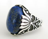 Handmade Natural lapis lazuli Stone 925 Sterling Silver Men's Woman's Ring A62