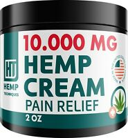 Hemp Oil Infused Cream 10 000 MG for Pain Relief Skin Irritation Insect Bites