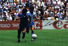 Firmado Steve Hodge Inglaterra Copa Mundial 1986 Coloreada Foto + prueba Maradona Leeds