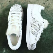 Shoes adidas Superstar With Silver Glitter with Lace White More' Tongue Hair