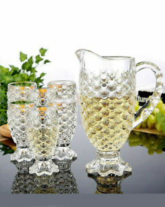 7pc Crystal Clear Glass Beverage Footed Juice Water Jug Cups Drinking Set BNIB