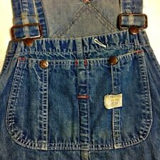 1940 Big Mac Faded Distressed 29 Waist 31� Long Denim Overalls Indigo