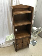 Antique Solid Mini Dark Oak Bookcase With Cupboard