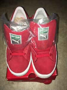 "Vintage Puma ""The Suede"" Men's Red White Suede Leather Athletic Shoe Sz 8.5"