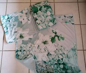 Bettwäsche Mikronesse Jersey Hortensie 3tlg.  155x220  grün weiß