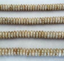 50 6 mm Czech Glass Rondelle Beads: Luster Opaque White - Picasso