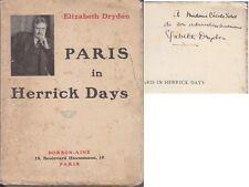 C1 14 18 Elizabeth DRYDEN Paris in Herrick Days DEDICACE Envoi PARIS EN 1914