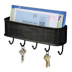 """Twillo Steel Wall Mount Mail and Key Rack 10.5"""" x 2.5"""" x 4.5"""" Matte"""