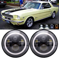 "7"" LED Headlights WHITE Halo For Ford Mustang 1966 1967 1968 1969 1970 1972 1973"