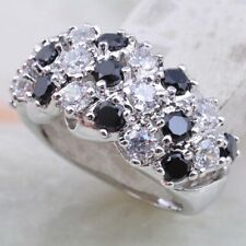 Chunky Statement Ring New Size N/6.75 Silver Black Onyx Cubic Zirconia Thick