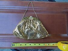 VINTAGE GOLD MESH EVENING BAG WITH RHINESTONES ON CLASP.  8 INCHES