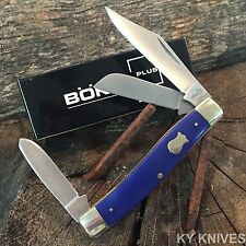 "BOKER PLUS 3 3/4"" Stockman Pocket Knife BLUE Handles NEW Vintage Style BO280BL N"