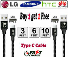 Braided USB C Type-C Fast Charging Data SYNC Charger Cable Cord 3/6/10FT LONG