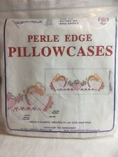 Vintage Peeled Edge Pillowcases. Embroidery Kit. New In Package. Standard Sized