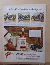 1948 magazine ad for Corby's Whiskey - Kentucky Derby Time, racing scenes