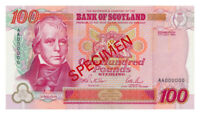SCOTLAND banknote 100 Pounds 1995 Specimen UNC Uncirculated condition