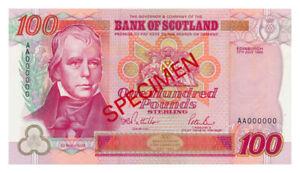SCOTLAND banknote 100 Pounds 1995 Specimen UNC Uncirculated condition (4)