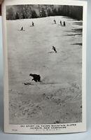 Vintage Postcard Thorn Mountain Slopes Jackson NH Winston Pote Skiers Skiing
