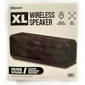 GEMS XL Wireless Speaker Black Bluetooth 45ft Range Built-in Microphone NEW