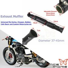 1.75 in 45mm Motorcycle Exhaust Pipe Muffler For Harley Cafe Racer Bobber Black