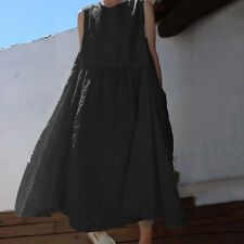 0afdf7aaf2dc59 VONDA Women Loose Sleeveless Long Dress Ladies Summer Oversized Maxi  Sundress