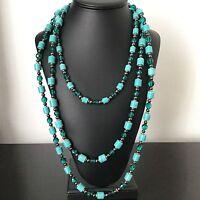 Collier Sautoir Triple Rang Vintage Perles de Verre 1970 French Vintage Necklace